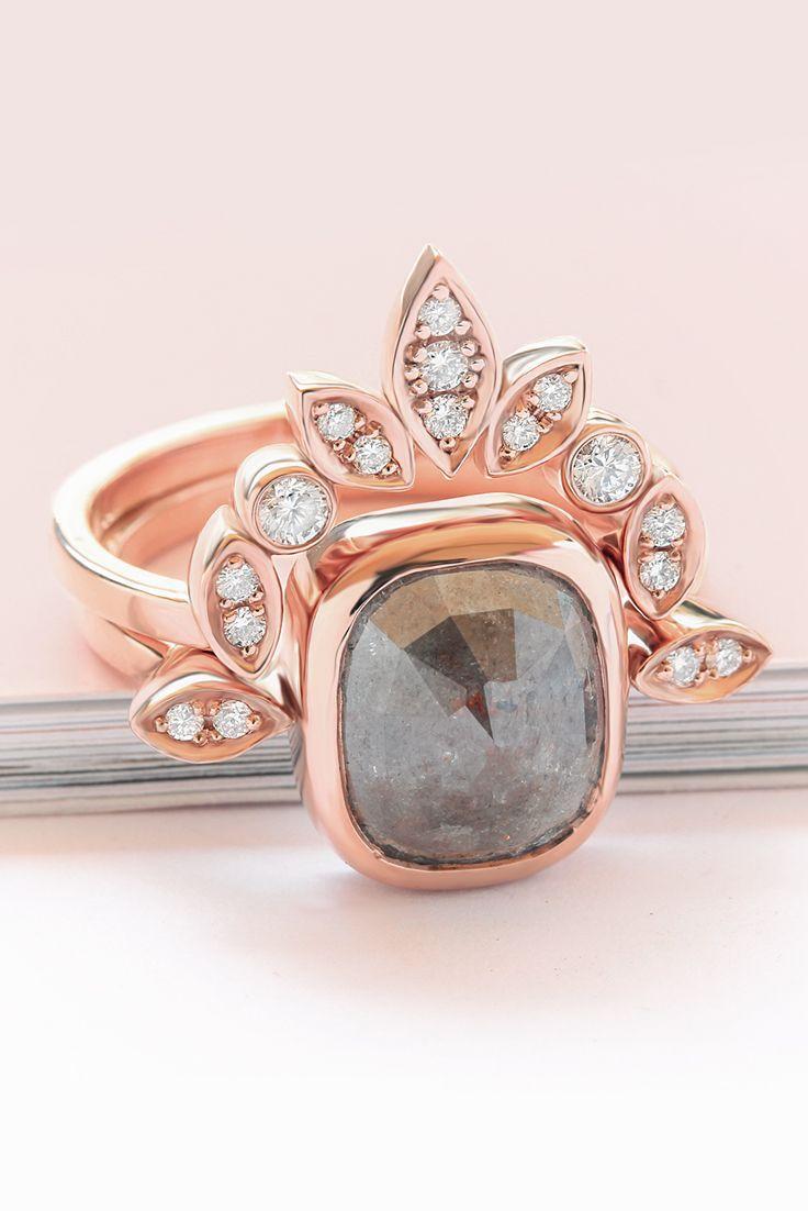 Rustic Natural Salt Pepper Diamond Engagement Rings Set In 14k Rose Gold Perfect