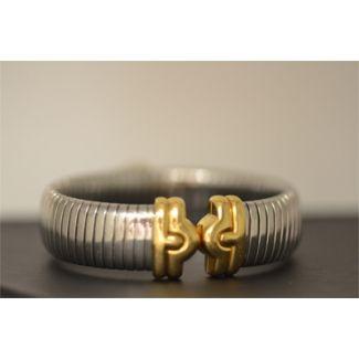 Bvlgari Tubogas Stainless Steel & Gold Bangle Bracelet