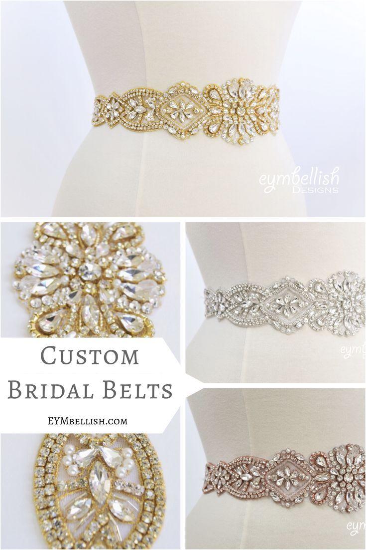 Crystal rhinestone bridal belt on satin sash wide bridal sash