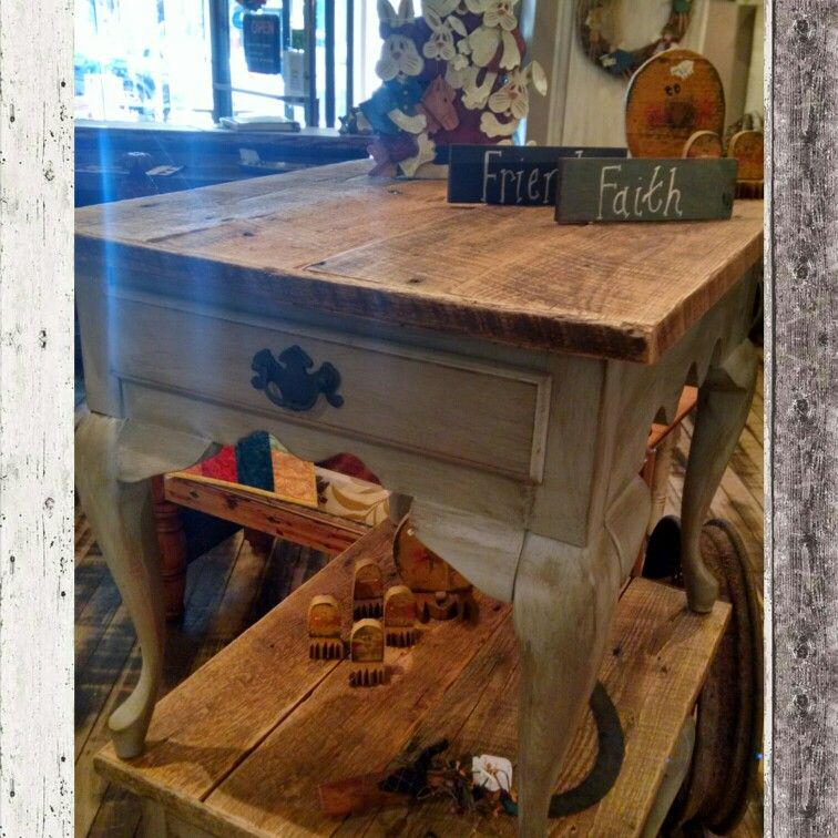 Upcycled End Tables. Distressed Grey With Barn Wood Top. 2 Matching. $44.99  Ea