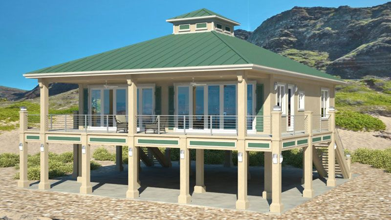 Clearview 1600P 1600 sq ft on piers Beach House Plans by Beach