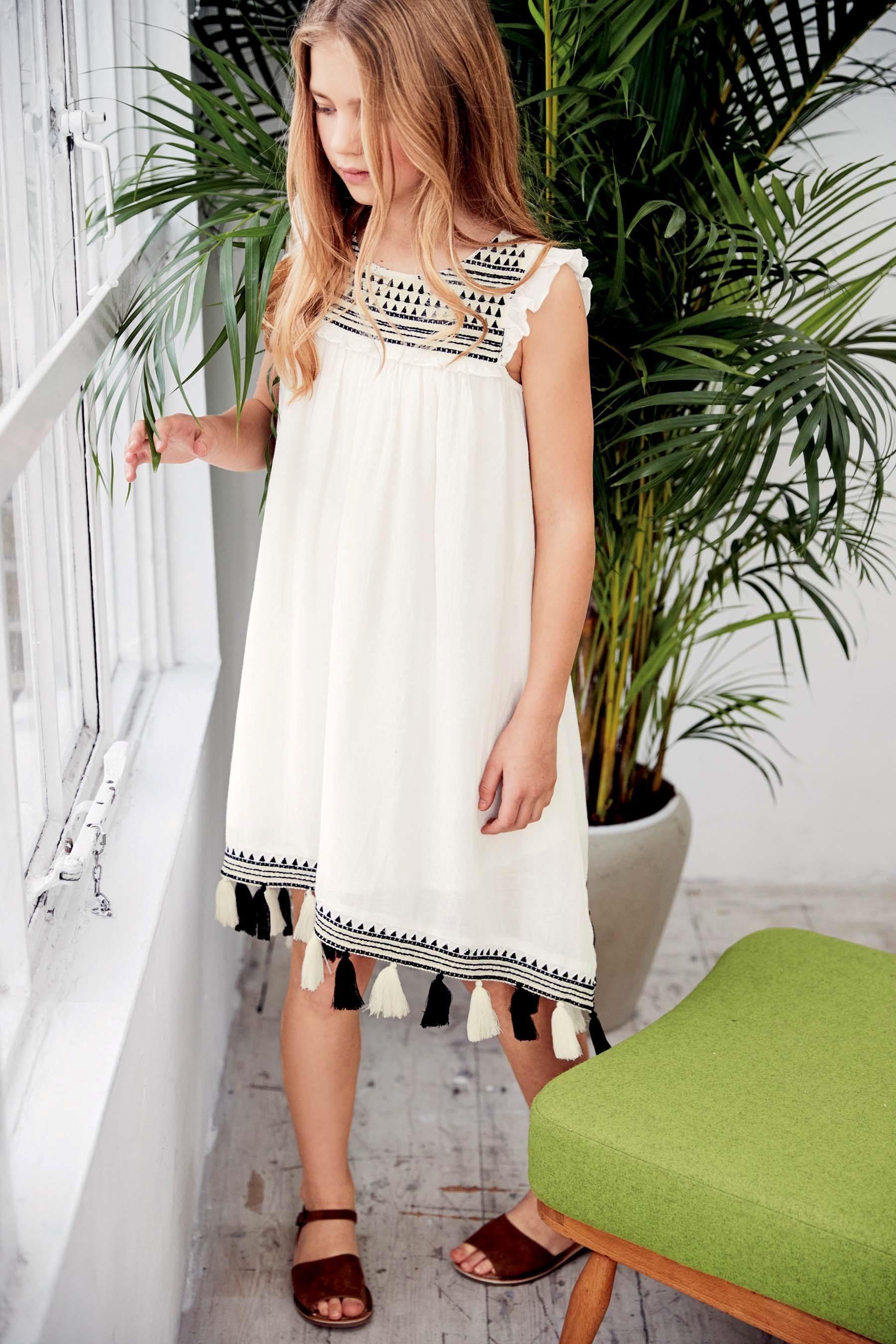 Buy Mono Pom Pom Dress (3-16yrs) from the Next UK online shop | Kid ...
