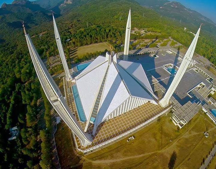 Aerial View of Shah Faisal Mosque, Islamabad, Pakistan # ...
