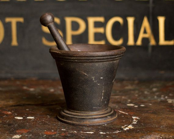 Vintage 1920's Cast Iron Mortar & Pestle by MDQualityGoods on Etsy