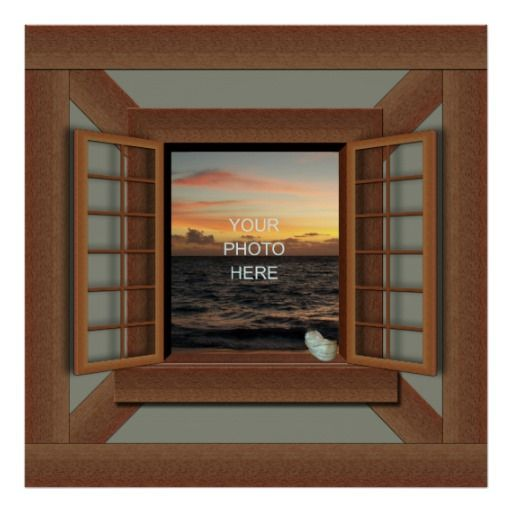 Faux Window Frame Poster Add Your Photo   Fake Window Posters ...