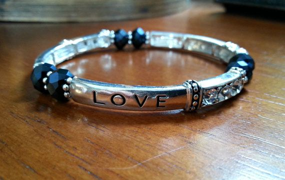 Faith Hope Love Black beaded Stretch Bracelet by MissGawdysJewelry