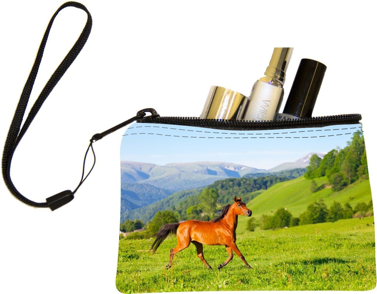 """Rikki Knightâ""""¢ Arab Racer Horse on Green Meadow Design Keys Coins Cards Cosmetic Mini Clutch Wristlet * Don't get left behind, see this great  product : Travel cosmetic bag"""