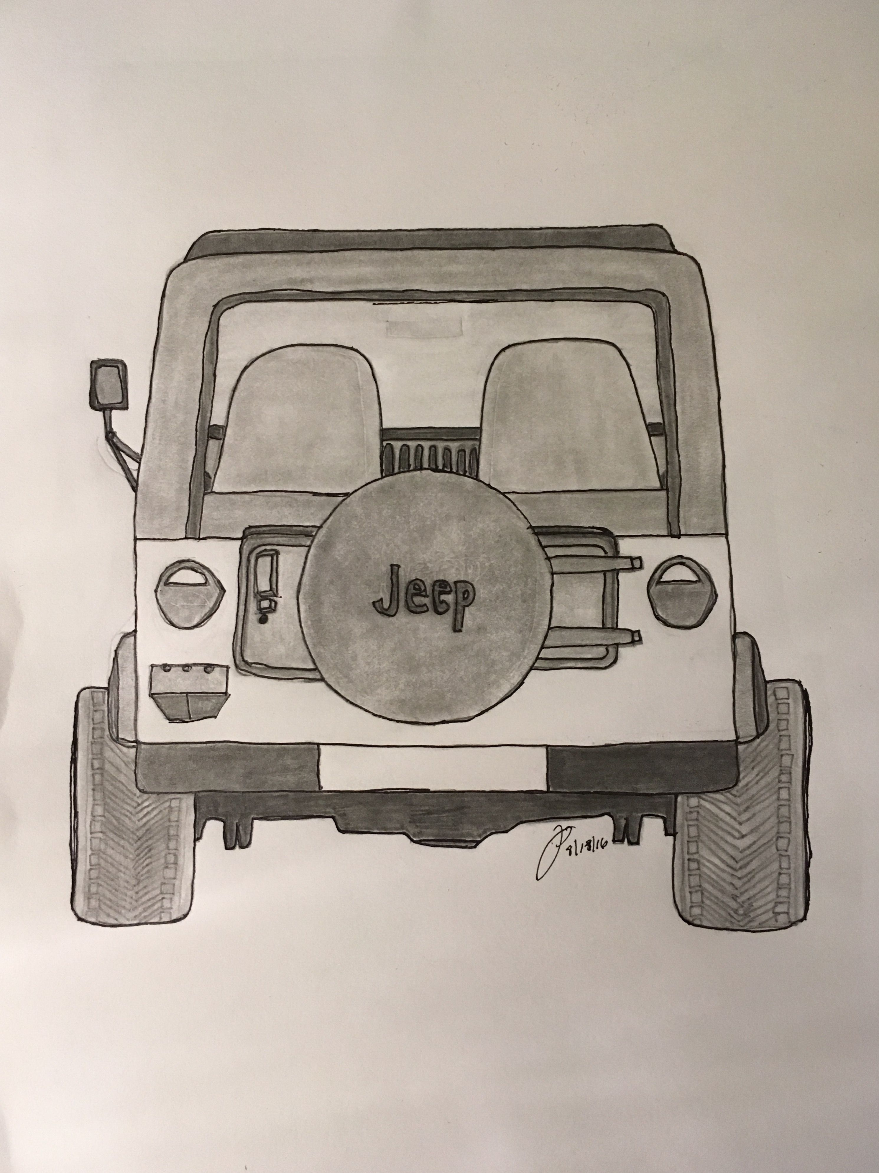 How To Draw A Jeep Wrangler, Step by Step, Drawing Guide