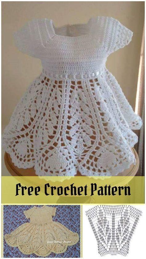 Schönes Lotus Baby Kleid kostenlose Häkelanleitung #vestidosparabebédeganchillo