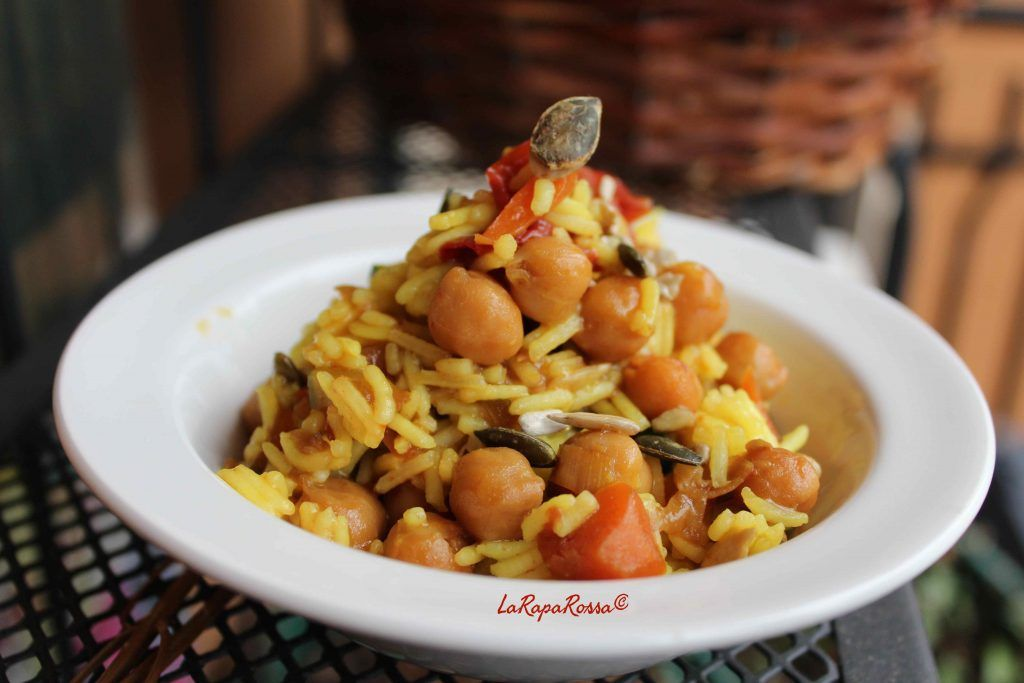 Riso basmati speziato con ceci e semi di zucca - Spiced basmati rice with chickpeas and pumpkin seeds