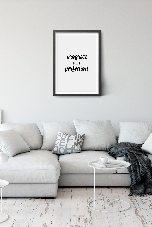 Progress Not Perfection Inspirational Wall Art, Motivational Poster,  Inspirational Print, Inspirational Digital Download