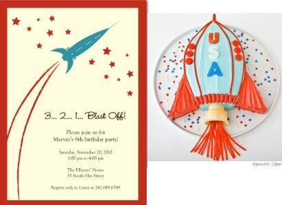 Friday Favorites Birthday Party Invitations – Rocket Ship Birthday Invitations
