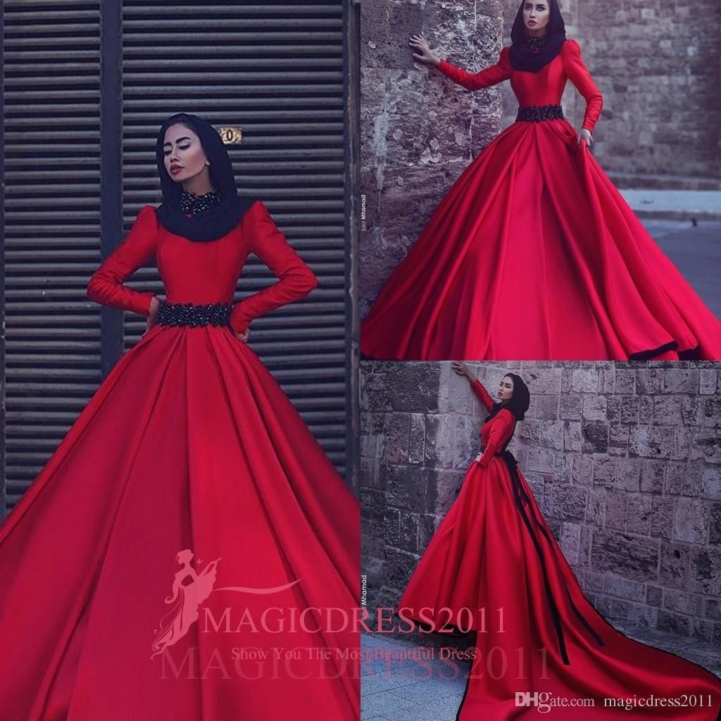 Gorgeous Arabic Burgundy Evening Dresses With Long Sleeve A-Line ...