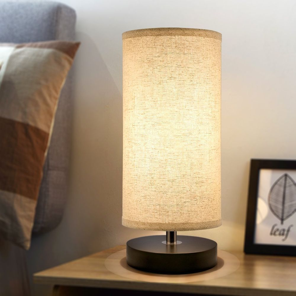Bedside Table Lamp Solid Wood Desk Nightstand Fabric Shade Round