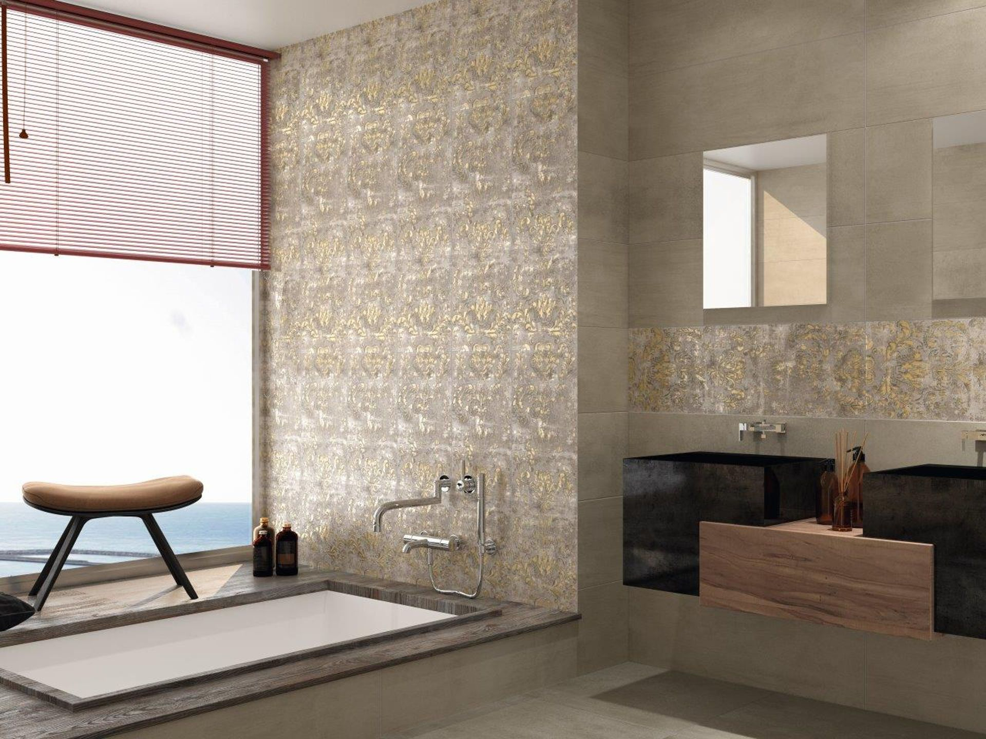 Our Latest Collection Of Ceramic Wall Tiles With A Beautiful Damask Pattern Design Distressed Look And Gold Metallic Luxury Tile Bathroom Wall Tile Wall Tiles