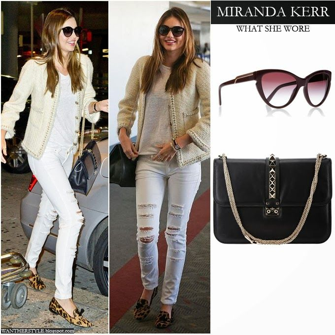 202f99d7cbb WHAT SHE WORE  Miranda Kerr in white knit jacket