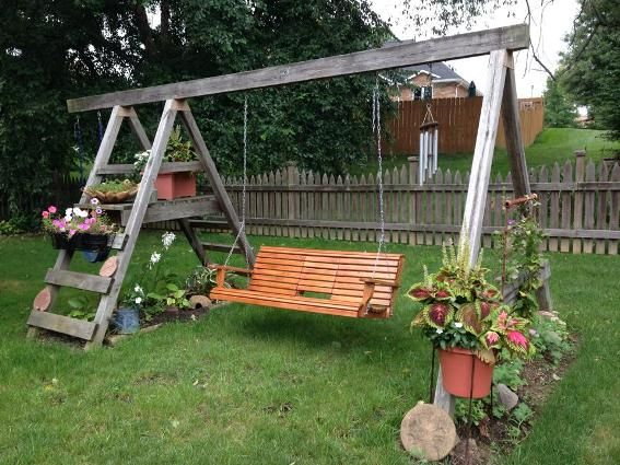Diana S Clever Ideas With Flea Market Finds Garden Swing Garden Swing Seat Backyard