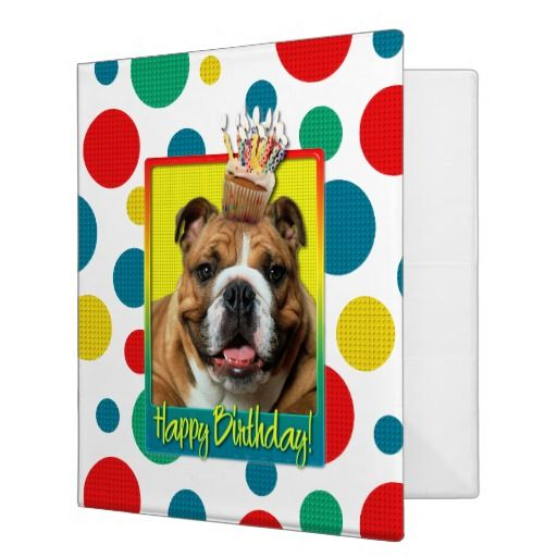 Birthday Cupcake - Bulldog - Dark Binder