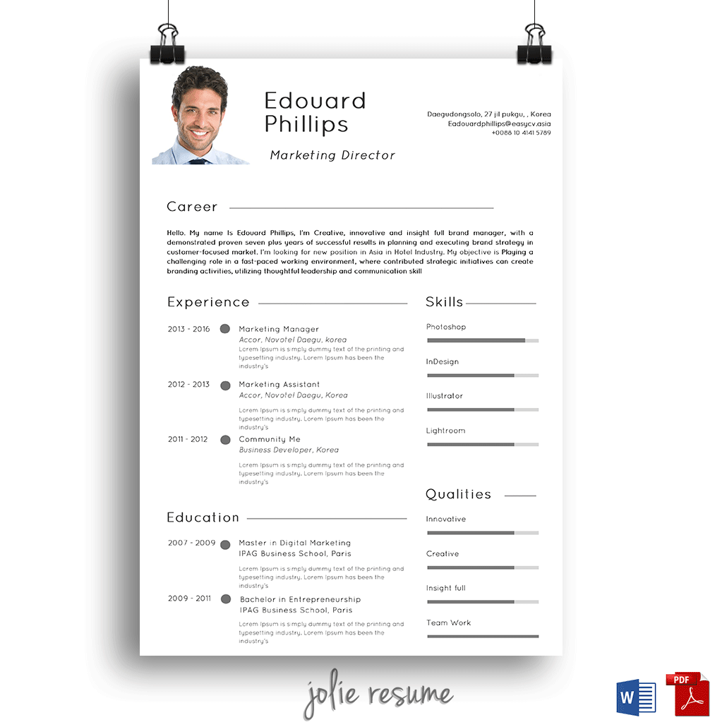 Resume Template Edouard  Ms Word  Easy To Edit  Instant