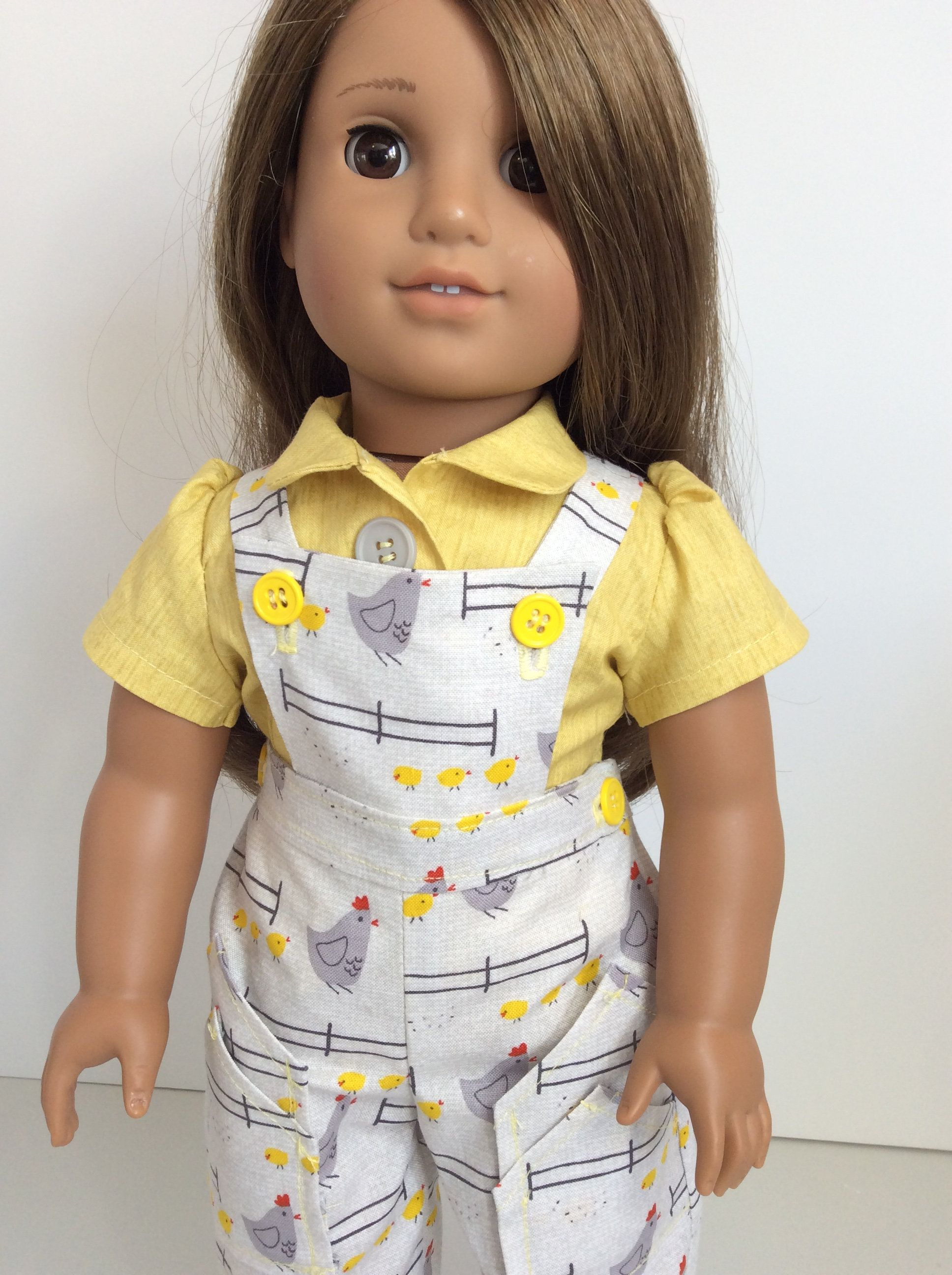 Doll bibbed overall, Playsuit and blouse, sized for 18 inch dolls, including American Girl, free Domestic Shipping #americandolls
