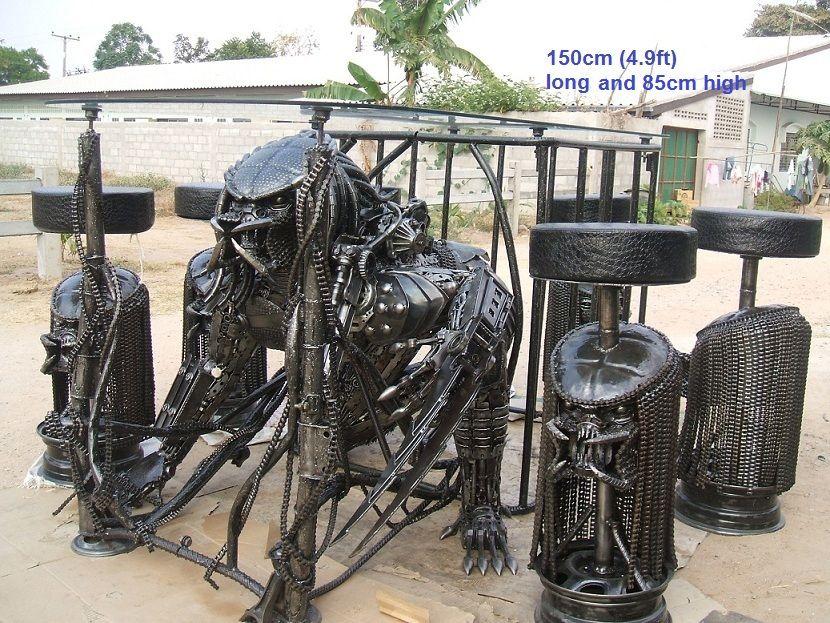 Predator Table Scrap Metal Art Life Size For Sale Aliens Vs Predictor Themed Artwork