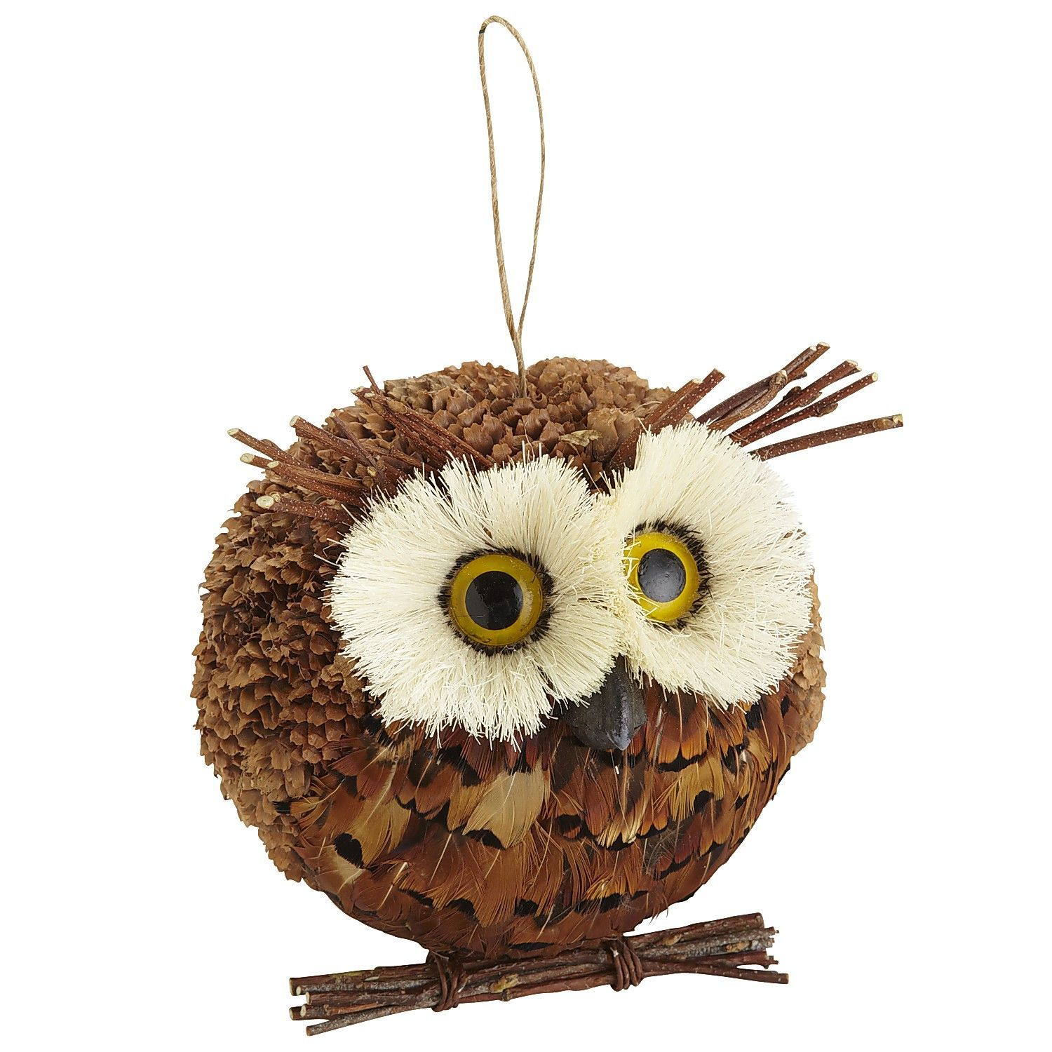 """Natural Feather Owl Ornament - Natural 7""""W x 6""""D x 6.25""""H Styrene foam, pine cone, sisal, twig, polyethylene"""