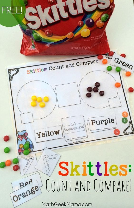 Skittles Count and Compare! {FREE Printable Pack} | Count, Math and ...
