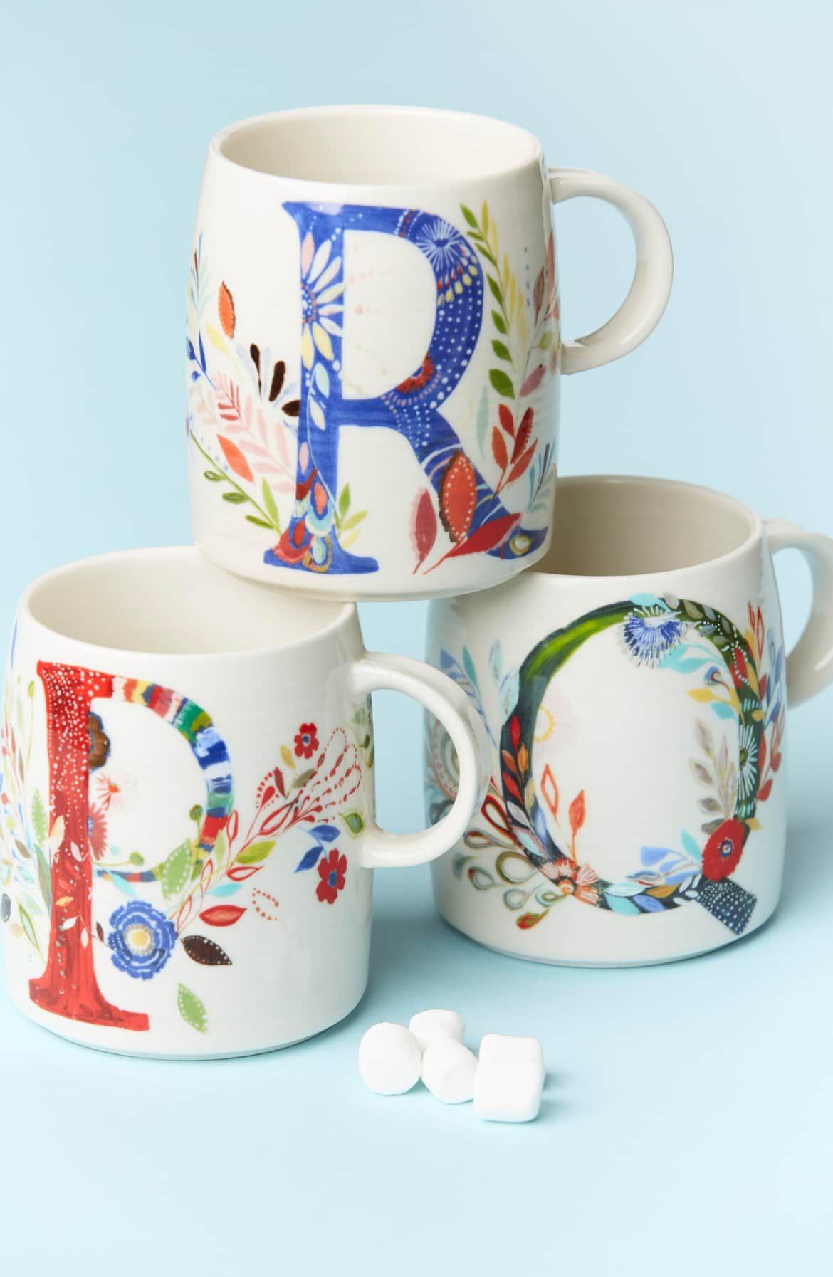 Anthropologie Petal Palette Monogram Mug Mugs, Monogram