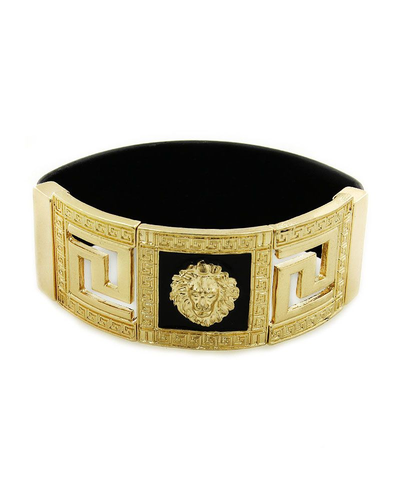 Lion vintage cuff bracelet versace bracelets and black faux leather