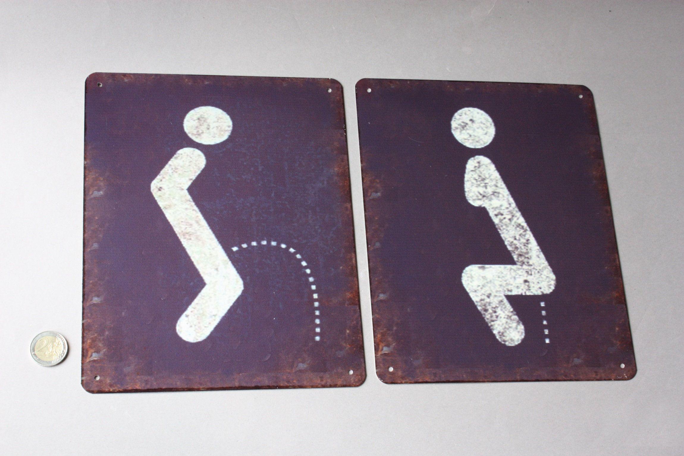 1 Wc Toilette Schild Shabby Mann Oder Frau Stilistisch Graphisch