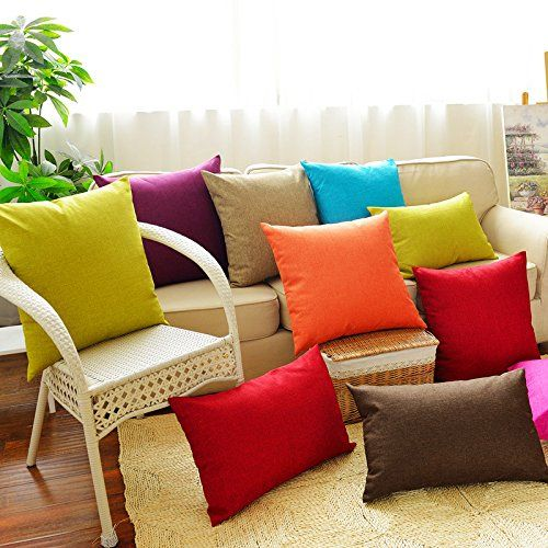 Huacel Solid Multiple Color Simple Linen Throw Pillow Cases Sofa