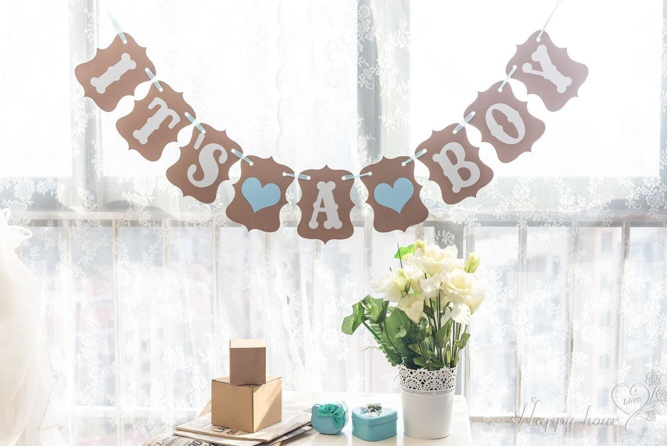 Baby Shower 3M Paper Its a Boy Girl Banner Party Baptism