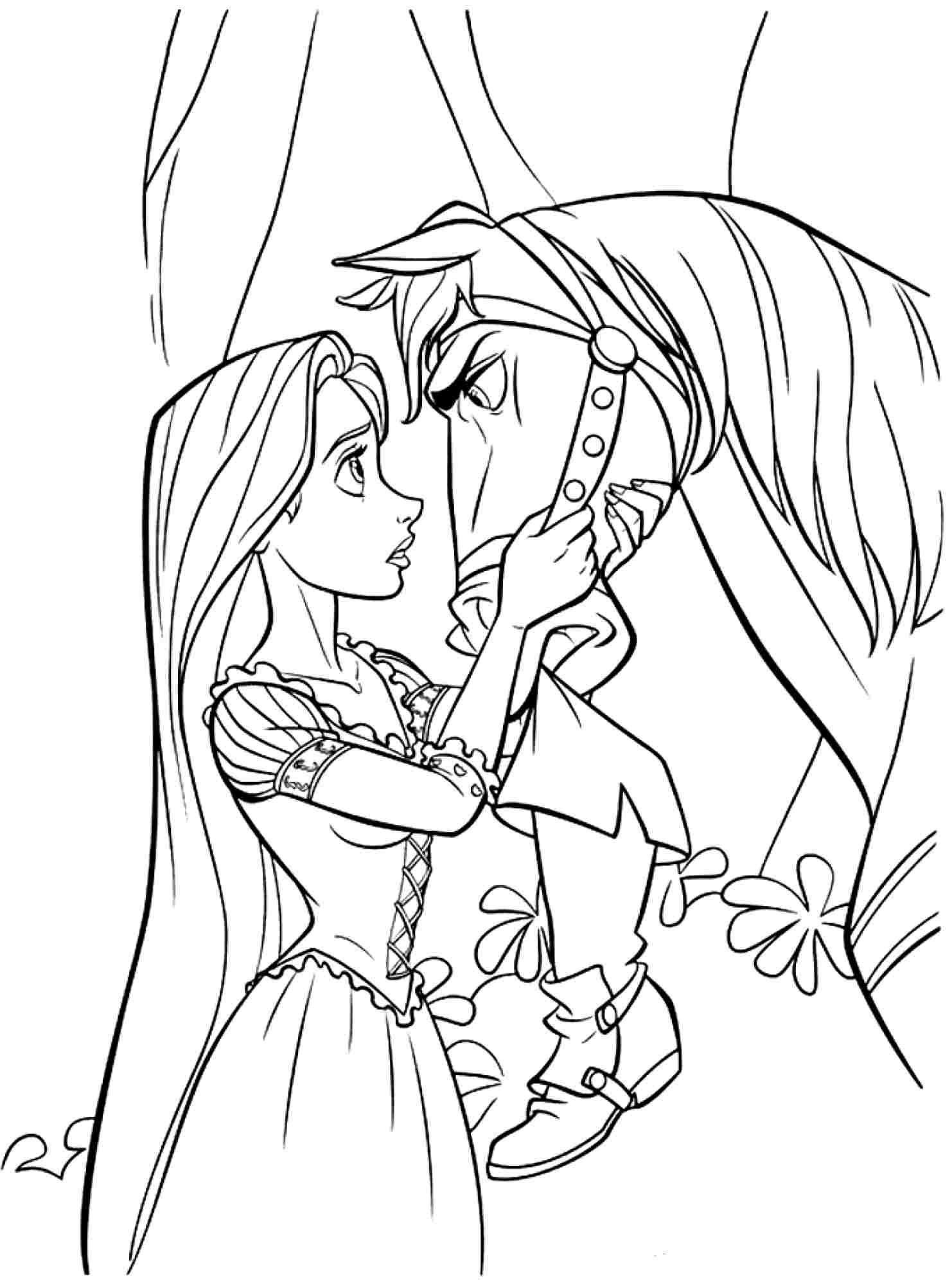 free disney princess tangled rapunzel coloring sheets for kids