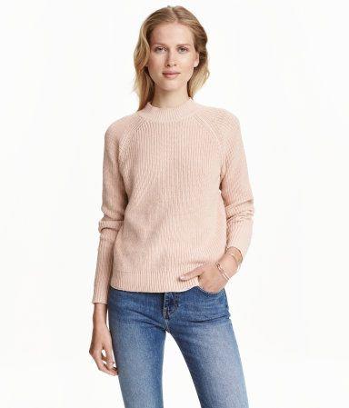 Knit Mock-turtleneck Sweater | Natural white | Ladies | H&M US ...
