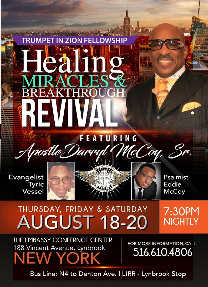 Join Apostle Darryl McCoy, Sr in NY for 3 Nights of Healing