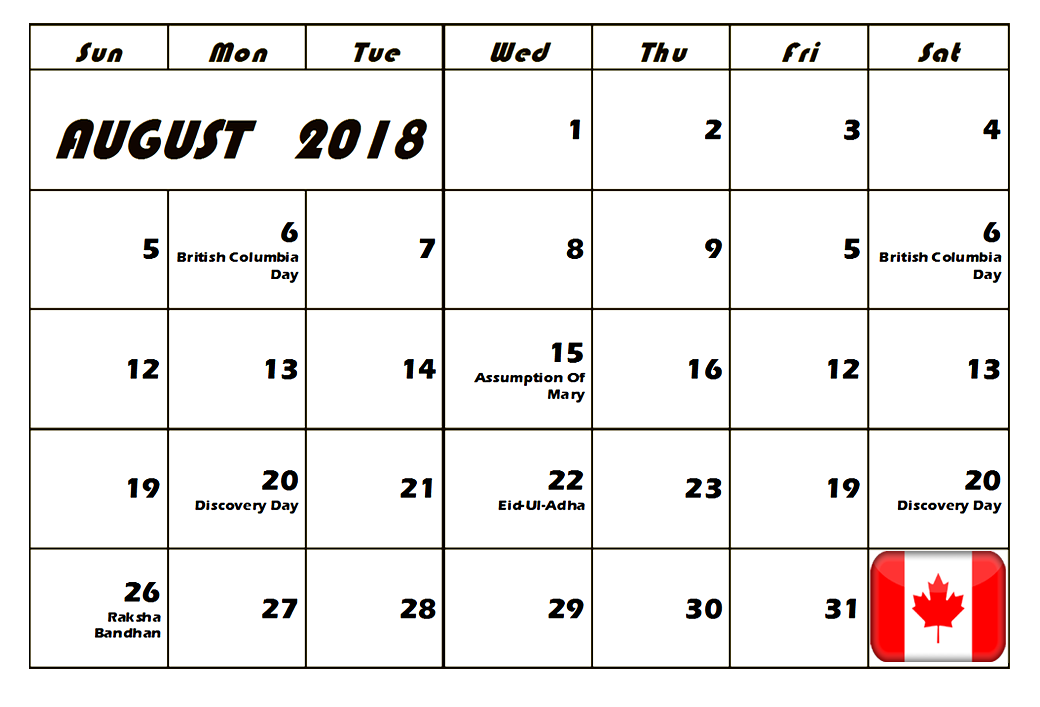 august 2018 calendar canada bank holidays