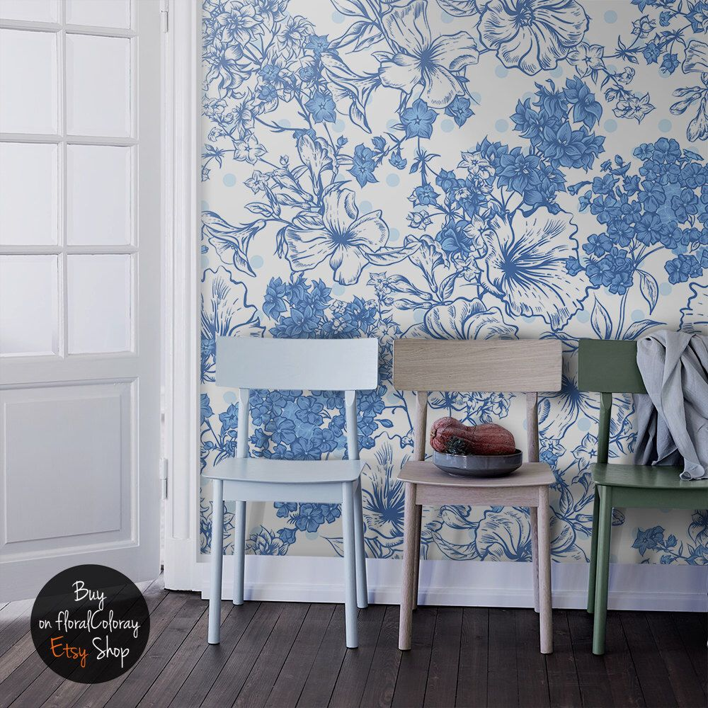 Summer bouquet wallpaper Blue floral wall mural