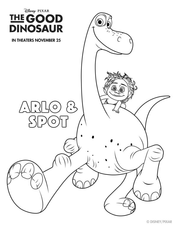 free printable disney the good dinosaur arlo & spot coloring page ... - Dinosaur Coloring Pages Preschool