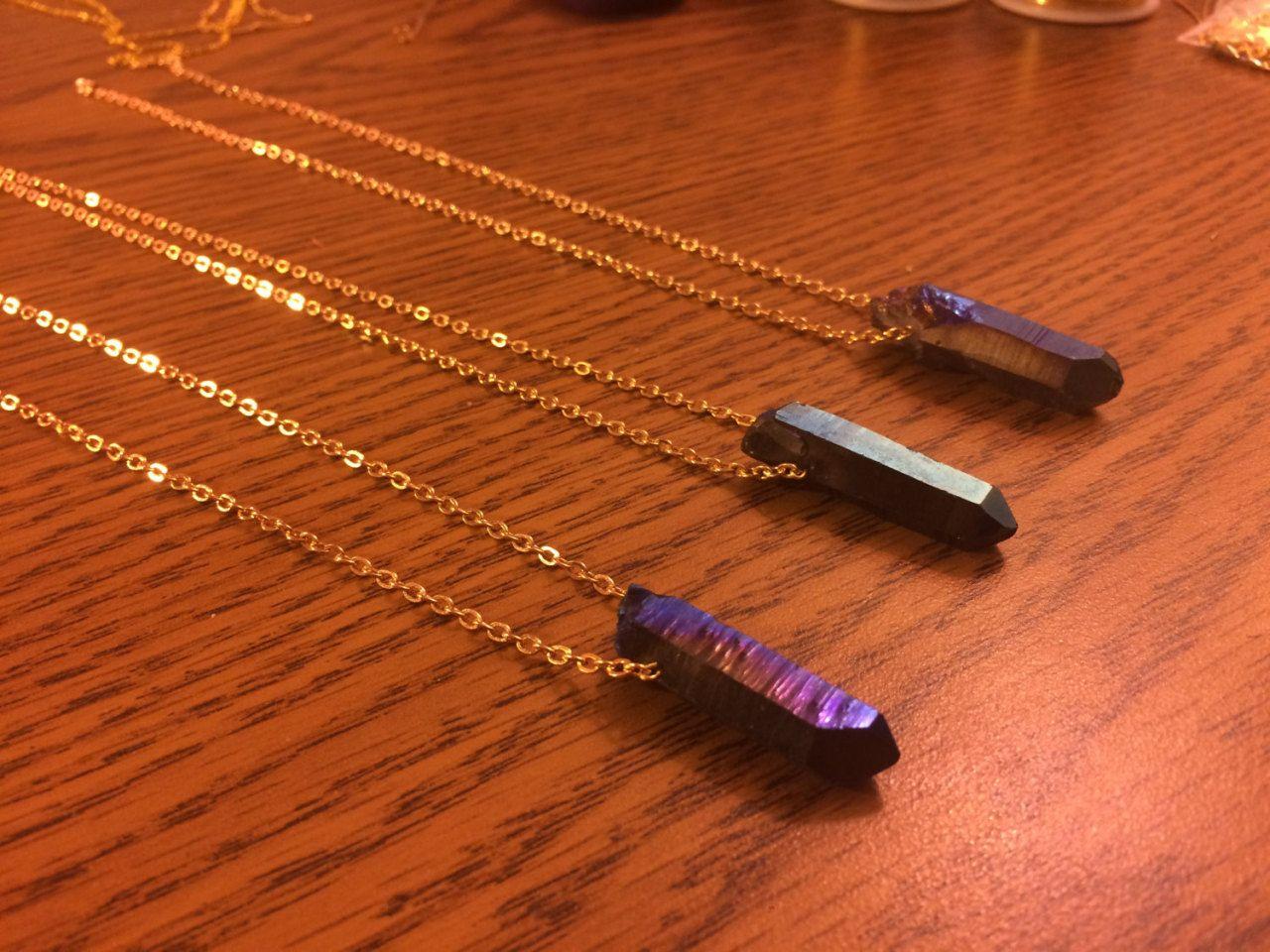 I N D I G O ⋯ Flame Aura Quartz Necklaces - #Aura #boho #etsy #for #gold #necklace #personal #quartz #Rose #sale #titanium