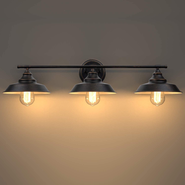 Bathroom Vanity Light 3 Light Wall Sconce Industrial Wall Mount Lamp Shade With E26 Base Socket Vintage Light Fixtures Wall Mounted Lamps Wall Sconce Lighting