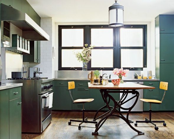 Dark Green Kitchen Cabinets nate berkus kitchen; elle decor via high street market. army green