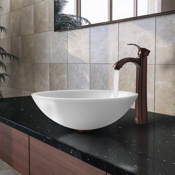 Vigo vgt208 flat edged white phoenix stone 16-1/2 inch glass vessel - Vessel Sinks Bathroom