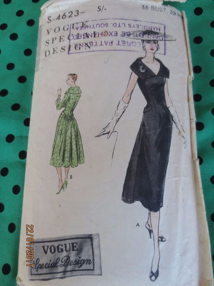 VSD S-4623Dress 50s +1free dress with a shawl collar & pleated skirt at back Choice of long or sleeveless versions. complete 9pcs Sz B36 H39 Plus free bonus pattern 70s skirt with side pocket Sz14/16 sld au28+8.6 us21.24 2/11/17