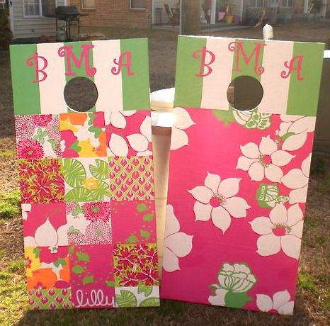 Gotta love a Lilly printed, monogrammed cornhole game! Perfect for tailgating