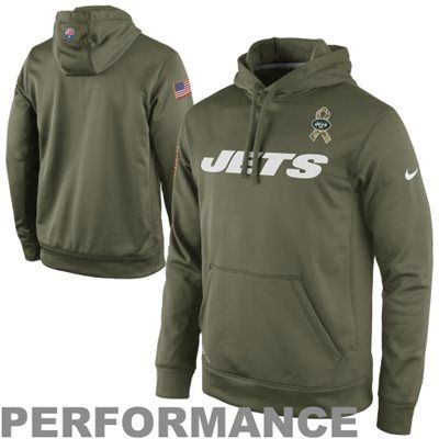 cda9a9608b5 ... Nike New York Jets Salute to Service KO Pullover Performance Hoodie -  Olive Mens ...