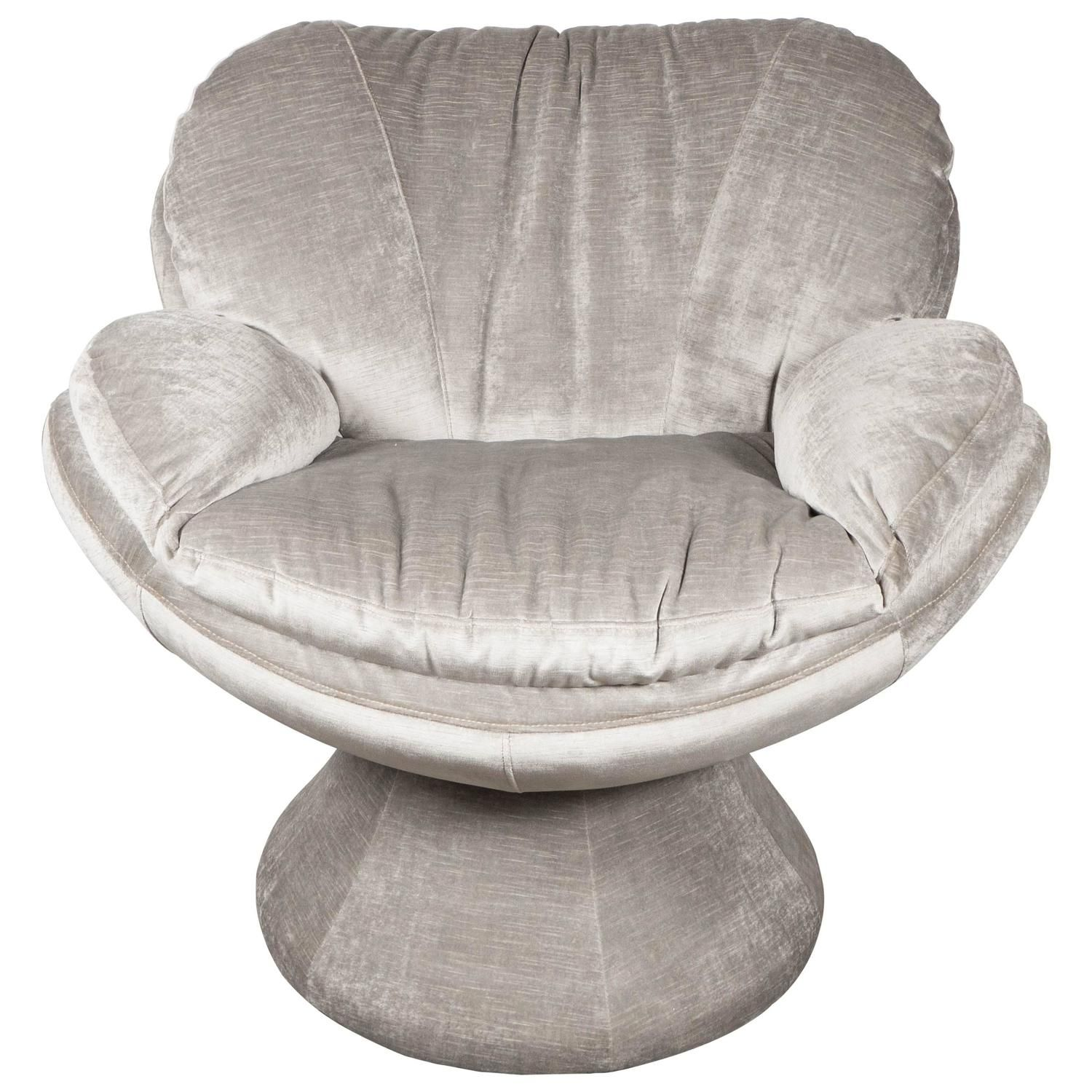 Mid Century Modernist Swivel Cloud Chair In Smoked Platinum Velvet