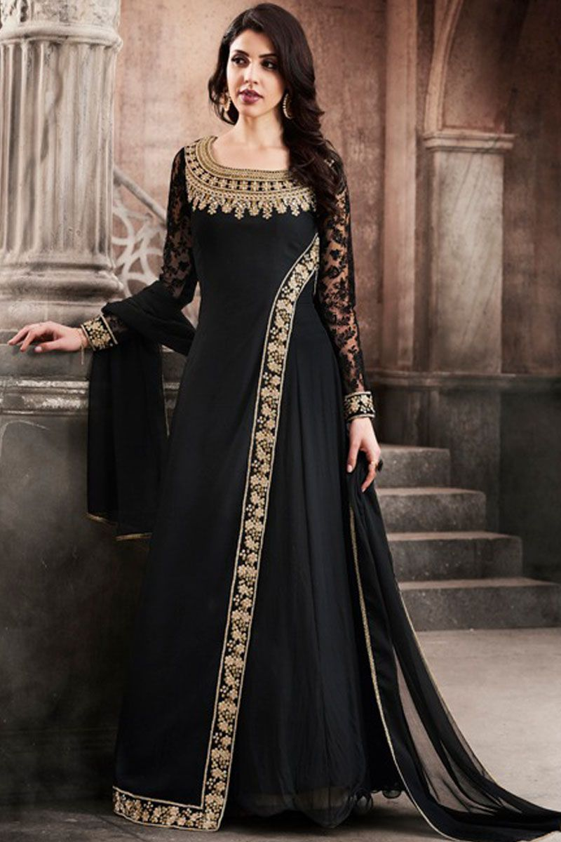 0ca6411ff12 Beautiful Black Color Georgette Fabric Party Wear Occasionally Bollywood  Fashion Designer Wedding Wear Fancy Salwar Suit  nakkashi  esteemcollection  ...