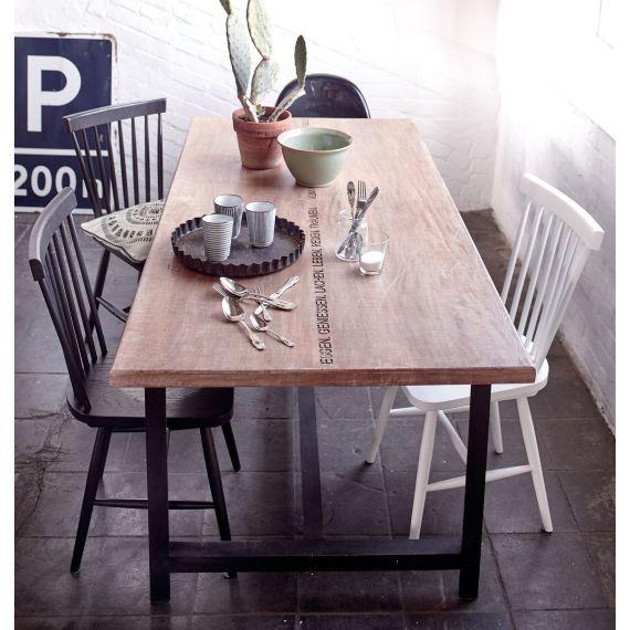 Esstisch Mit Schriftzug Mango Massiv Metall Impressionen 399 Esstisch Essen Tisch