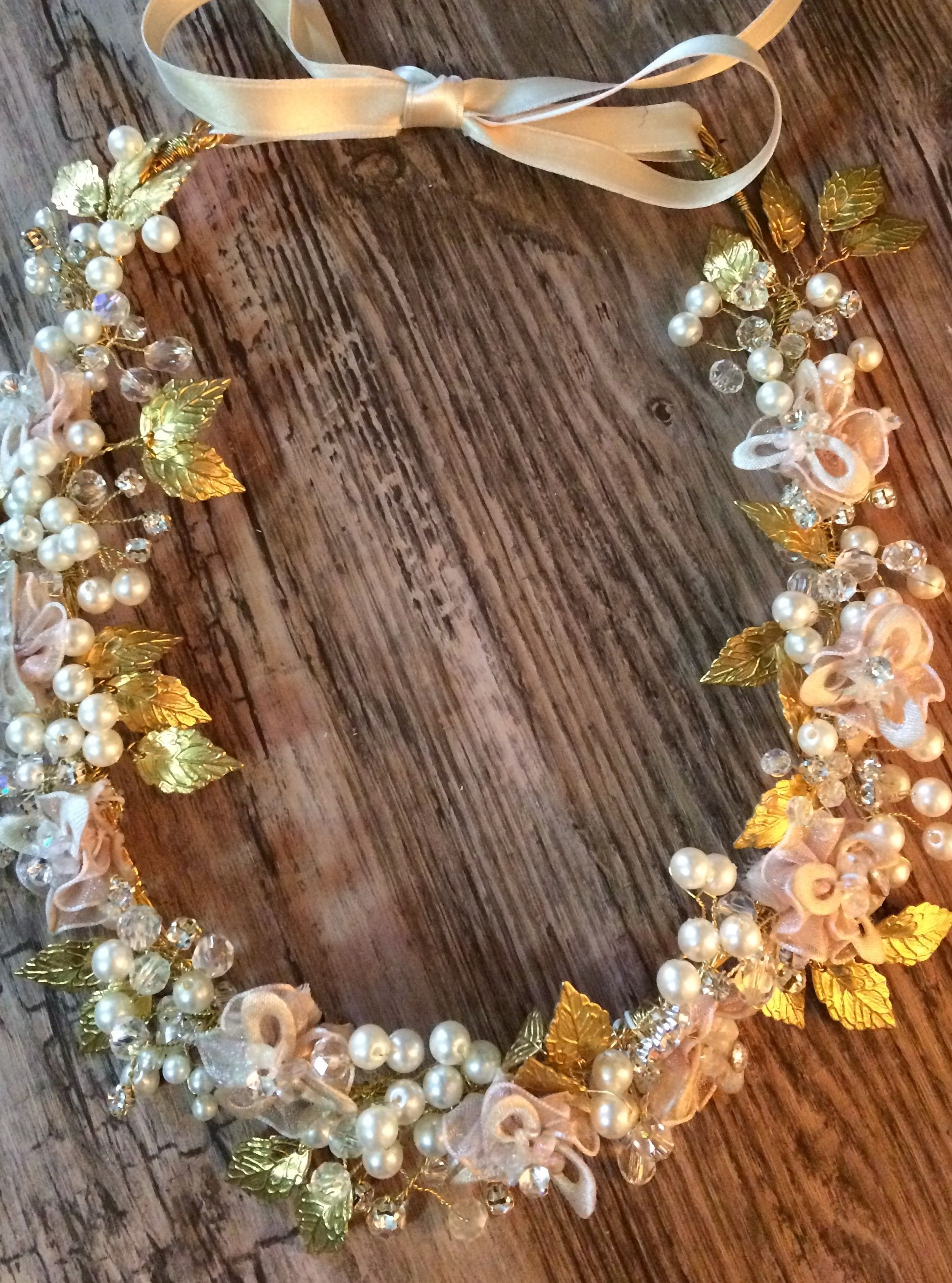 Beautifully Handcrafted Hair Band Embellished With Gold Leaves Silk