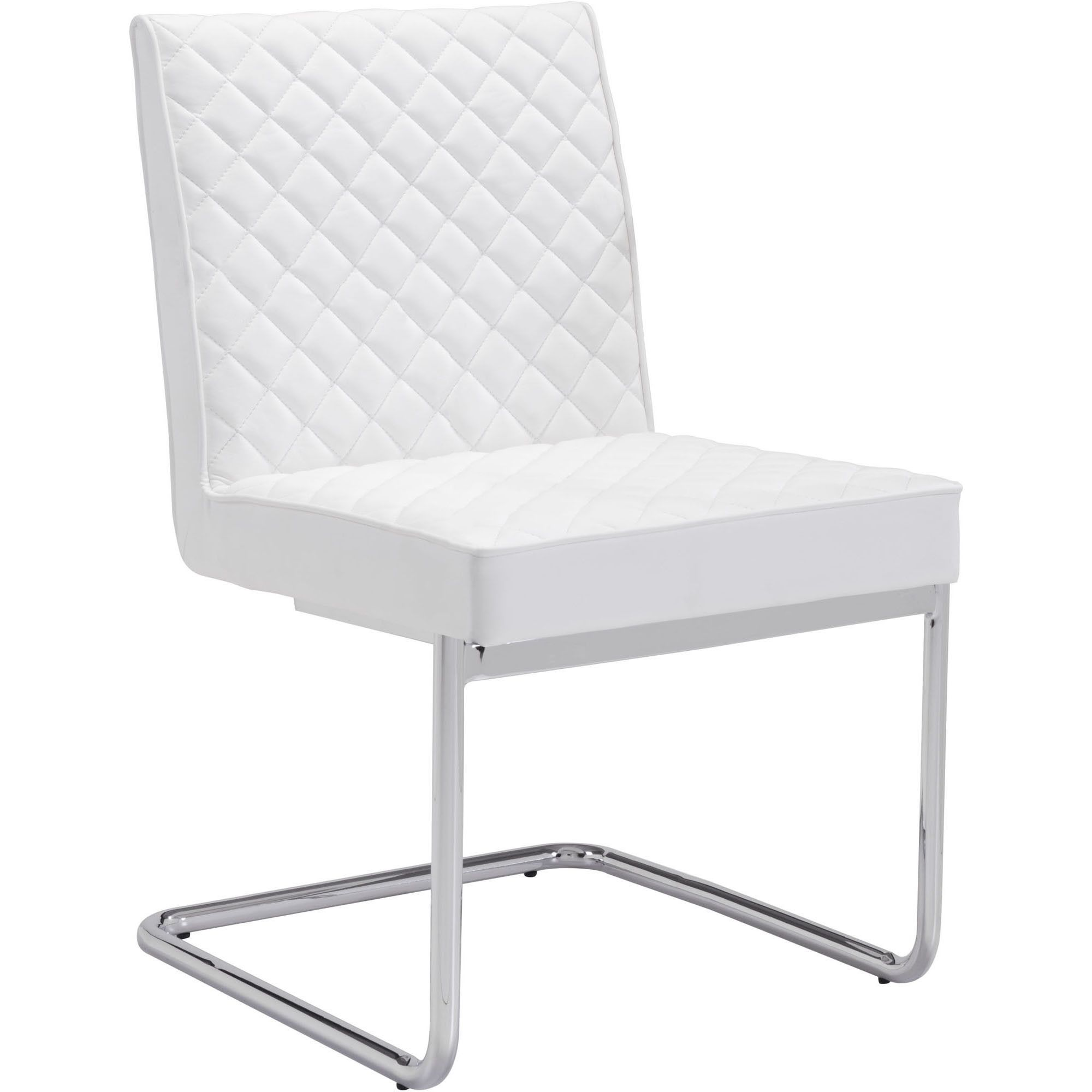 Quilt Armless Dining Chair White (Set of 2) Faux leather